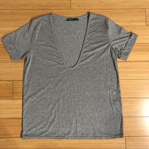 Nasty Gal Basic Gray V-Neck T-Shirt